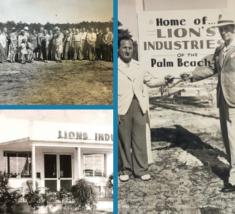 3 Black and white images from the groundbreaking and first building from 19463 Black and white images from the groundbreaking and first building from 1946