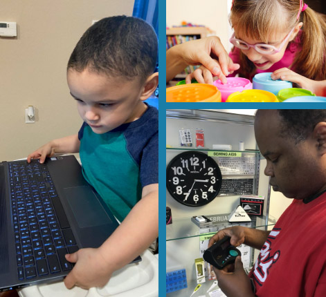 3 images from 2021 of a small boy on a computer, a girl arranging colorful cups and a black man using an assistive device