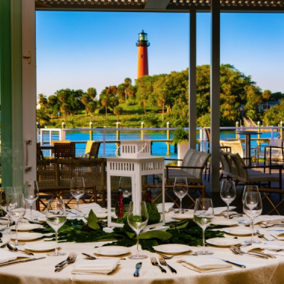 View of Jupiter Lighthouse from the Pelican Club Dining Room