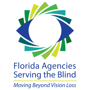 Florida ASB logo with the words Florida Agencies Serving the Blind: Moving Beyond Vision Loss with an outline of an eye over a colorful pinwheel background.