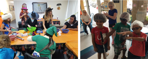 (Left) Halloween party activities (Right) Field trip to The Chocolate Spectrum in Jupiter